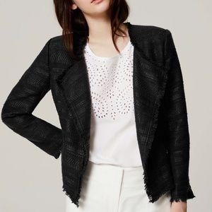 Loft Black Frayed Edge asymmetrical tweed Blazer